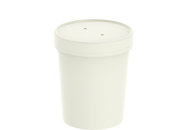 White Kraft Soup Container 32 Oz with Lid - 20 Pcs.