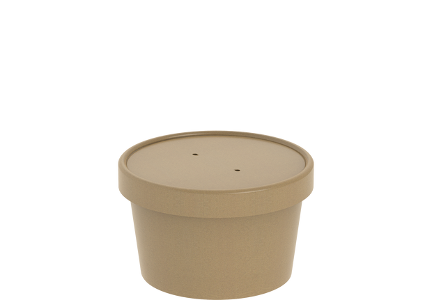 Brown Kraft Soup Container 8 Oz with Lid - 20 Pcs.