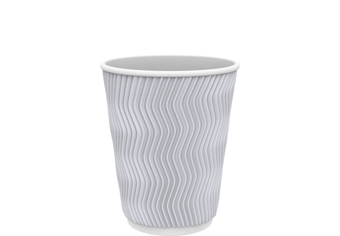 Rippled Paper Cups 8 oz. White - 25 Pcs.