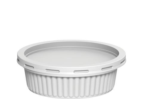 Plastic Catering Ribbed Containers 200 ml with Lids White - 20 Pcs.