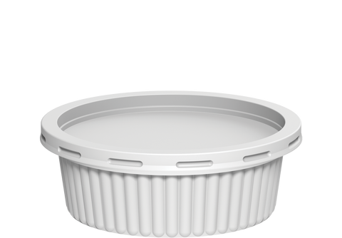 Plastic Catering Ribbed Containers 250 ml with Lids White 1000 Pcs.