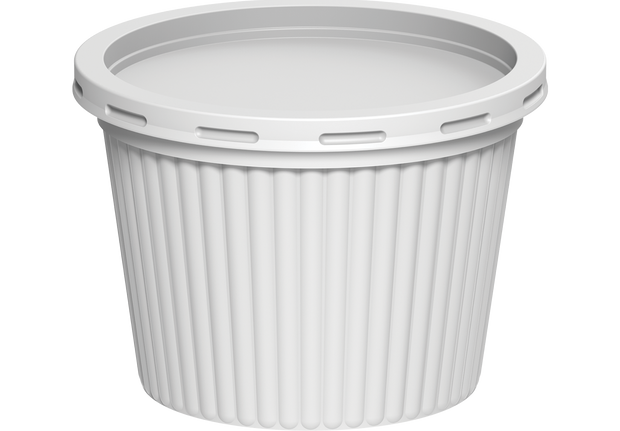 Plastic Catering Ribbed Containers 500 ml with Lids White - 20 Pcs.