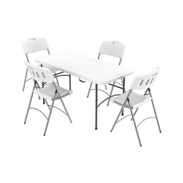 Picnic Folding Table & Chairs w/ Metal Legs Set