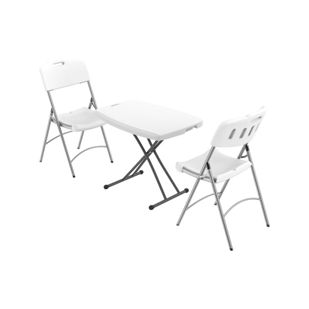 Adjustable Folding Tables & Chairs w/ Metal Legs Set