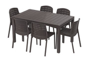 Cedargrain Outdoor Garden Plastic 6-seater Dining Set