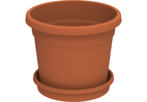 "Round Plastic Flowerpots 10"" with Tray"