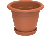 "Round Plastic Flowerpots 20"" with Tray"