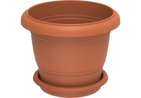 "Round Plastic Flowerpots 24"" with Tray"