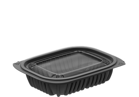General Purpose 12 oz. Plastic Black Containers with Lids 250 Pcs.