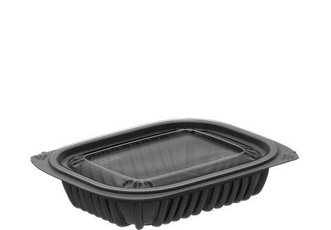 General Purpose 8 oz. Plastic Black Containers with Lids 250 Pcs.