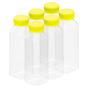 Plastic Empty Square Clear Bottles with Safety Caps 330 ml - 6 Pcs.