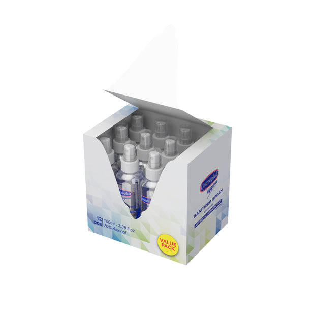Cosmoplast Hygiene Sanitizing Spray 100 ml Value Pack - 12 Pcs.