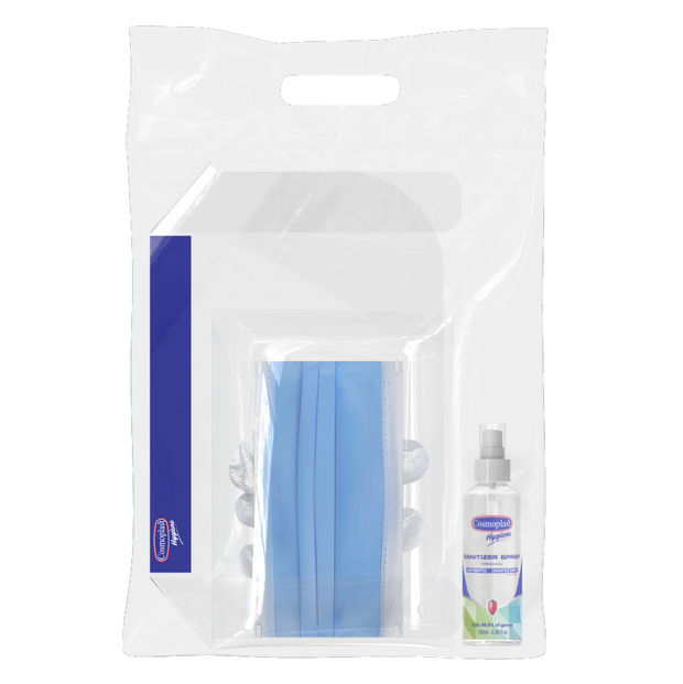 Advanced Travel Hygiene Kit - Face Shield x1 + Face Mask x5 + PE Gloves x10 + Sanitizer Spray 100 ml x1