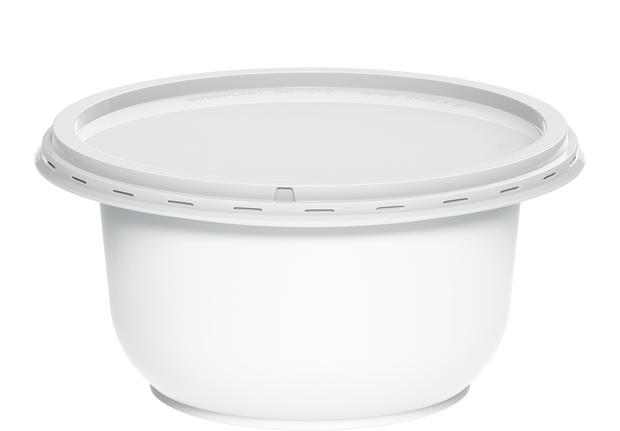 Plastic White Containers IC 15 with White Lids 150 ml - 40 Pcs.