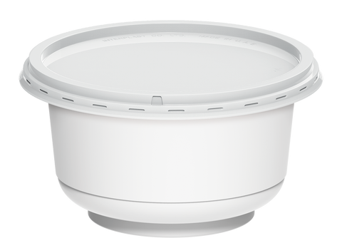 Plastic White Containers IC 95 with White Lids 200 ml 1000 Pcs.