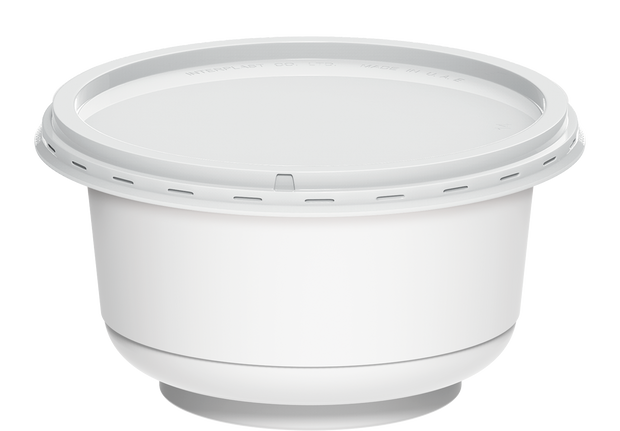 Plastic White Containers IC 95 with White Lids 200 ml - 40 Pcs.