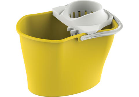 Plastic Mop Bucket Squeezer with Handle Yellow