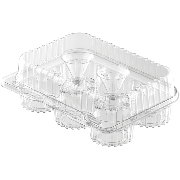 Plastic 6 Compartments Clear Muffin Containers Box with Lid - 10 Pcs.