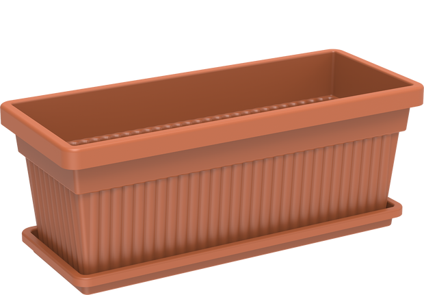 Rectangular Plastic Planters with Tray 18""