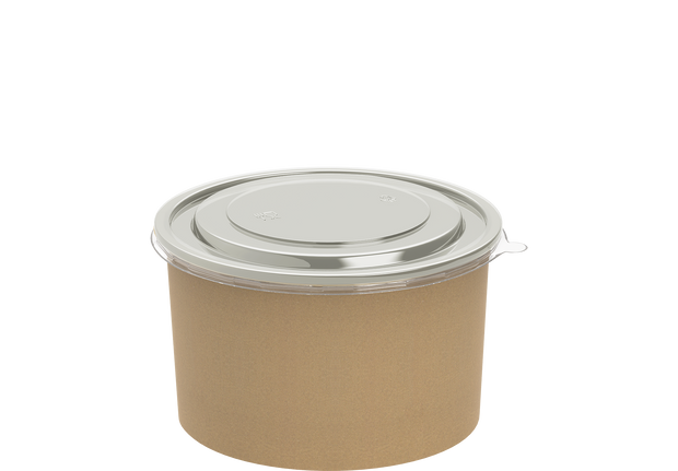 Brown Kraft Salad Container 1000 ml with Lid - 25 Pcs.