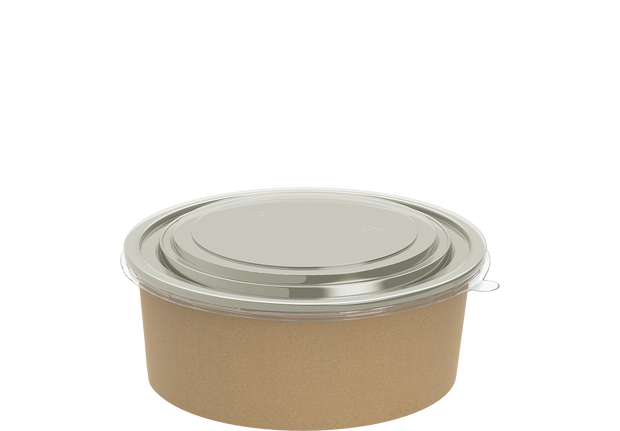 Brown Kraft Salad Container 1090 ml with Lid - 25 Pcs.