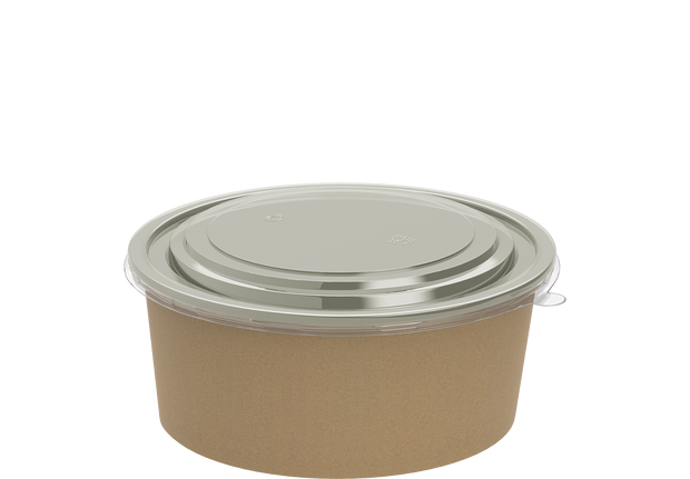 Brown Kraft Salad Container 1200 ml with Lid - 25 Pcs.