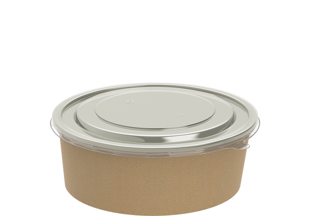 Brown Kraft Salad Container 1300 ml with Lid - 25 Pcs.