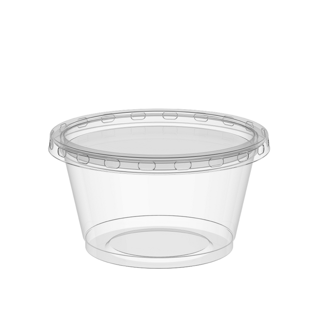 Plastic Sauce Cups 3.25 oz Clear with Clear Lids - 50 Pcs.
