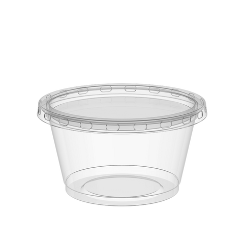 Plastic Sauce Cups 3.25 oz Clear with Clear Lids 2000 Pcs.