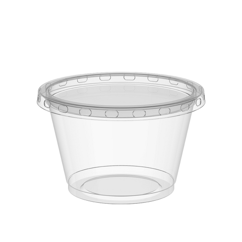 Plastic Sauce Cups 4 oz Clear with Clear Lids - 50 Pcs.