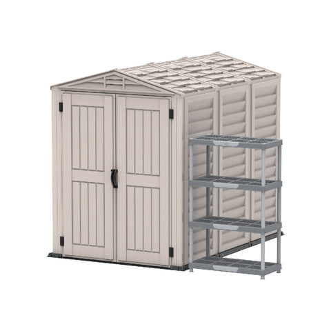 YardMate PLUS 5x8ft 250 x 161 x 210 cm Resin Garden Storage Shed with Shelving Rack 4