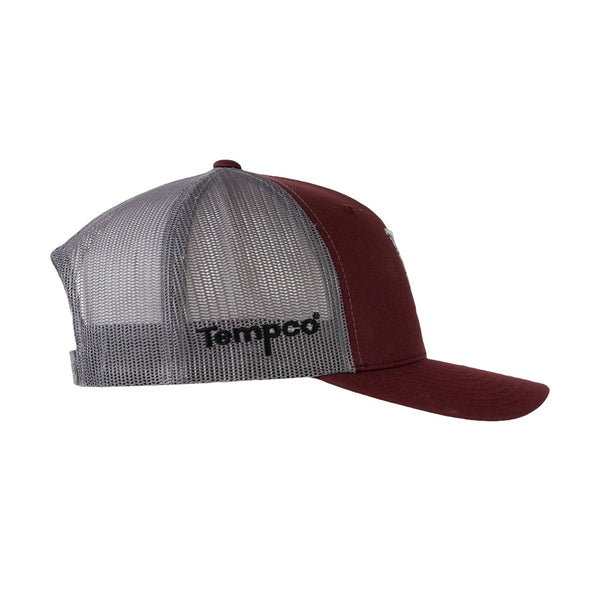 Tempco Iron Feather Mesh Snapback Hat - TCPB30 Maroon/Gray - Tempco Clothing