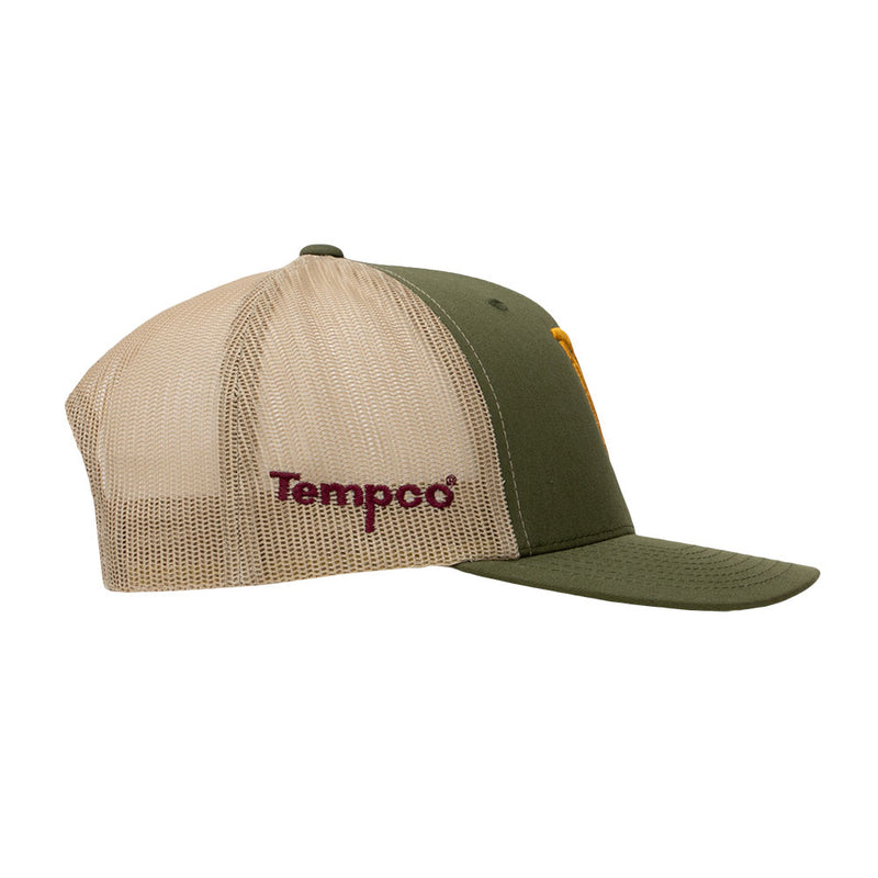 Tempco Iron Feather Mesh Snapback Hat - TCPB30 Moss/Khaki - Gold - Tempco Clothing