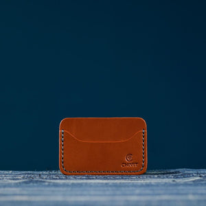 Single Cognac 3 Slot Card Wallet