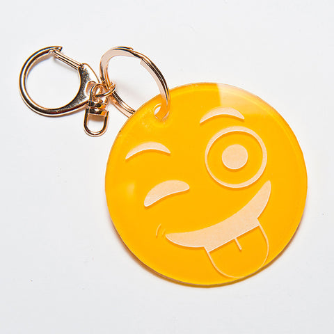 TONGUE OUT EMOJI KEYCHAIN - YELLOW
