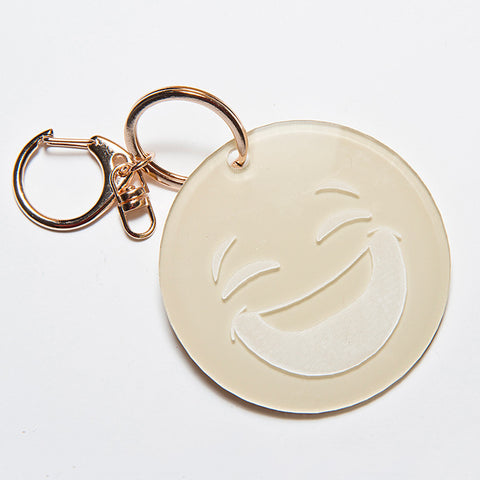 CRYING FACE EMOJI KEYCHAIN - BEIGE