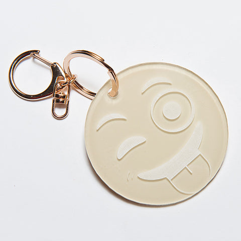 TONGUE OUT EMOJI KEYCHAIN - BEIGE