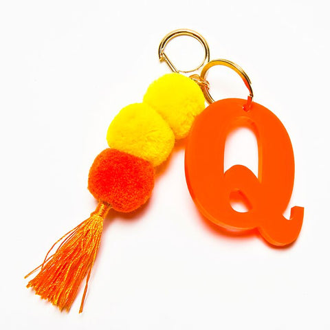 POM POM KEYCHAIN - ORANGE Q