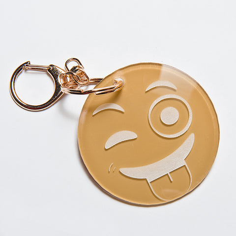 TONGUE OUT EMOJI KEYCHAIN - TAN