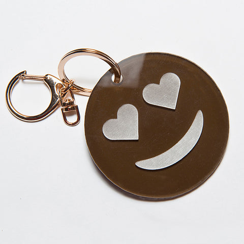 HEART EYES EMOJI KEYCHAIN - BROWN