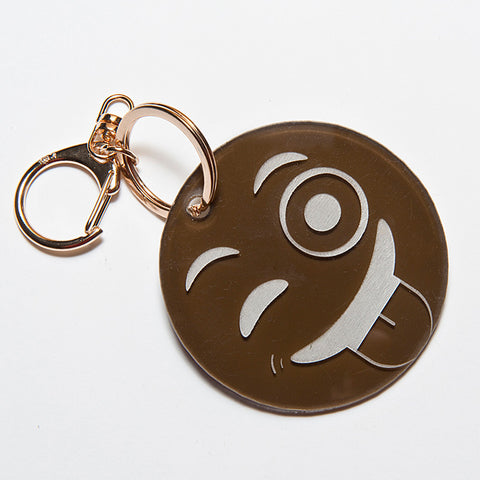 TONGUE OUT EMOJI KEYCHAIN - BROWN