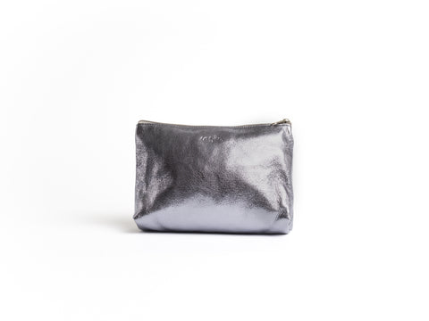 The Camille - Gunmetal Leather Pouch