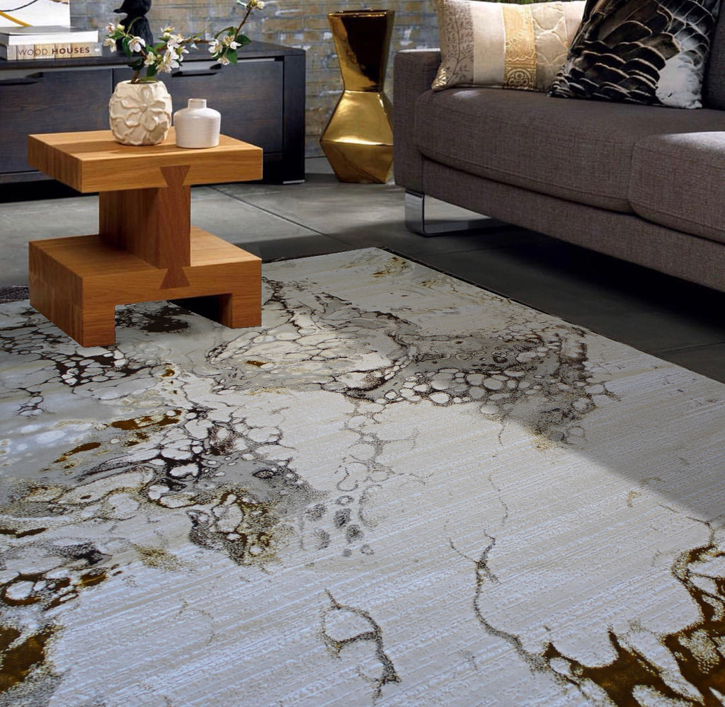 Golden Accents Modern Shimmer Sophisticated Soft Plush Durable Contemporary Area Rug