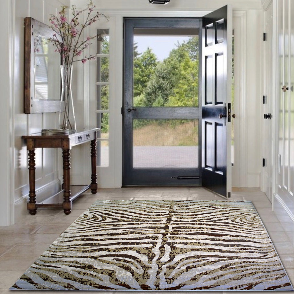 Ultra Soft Shimmery Abstract Contemporary Plush Area Rug