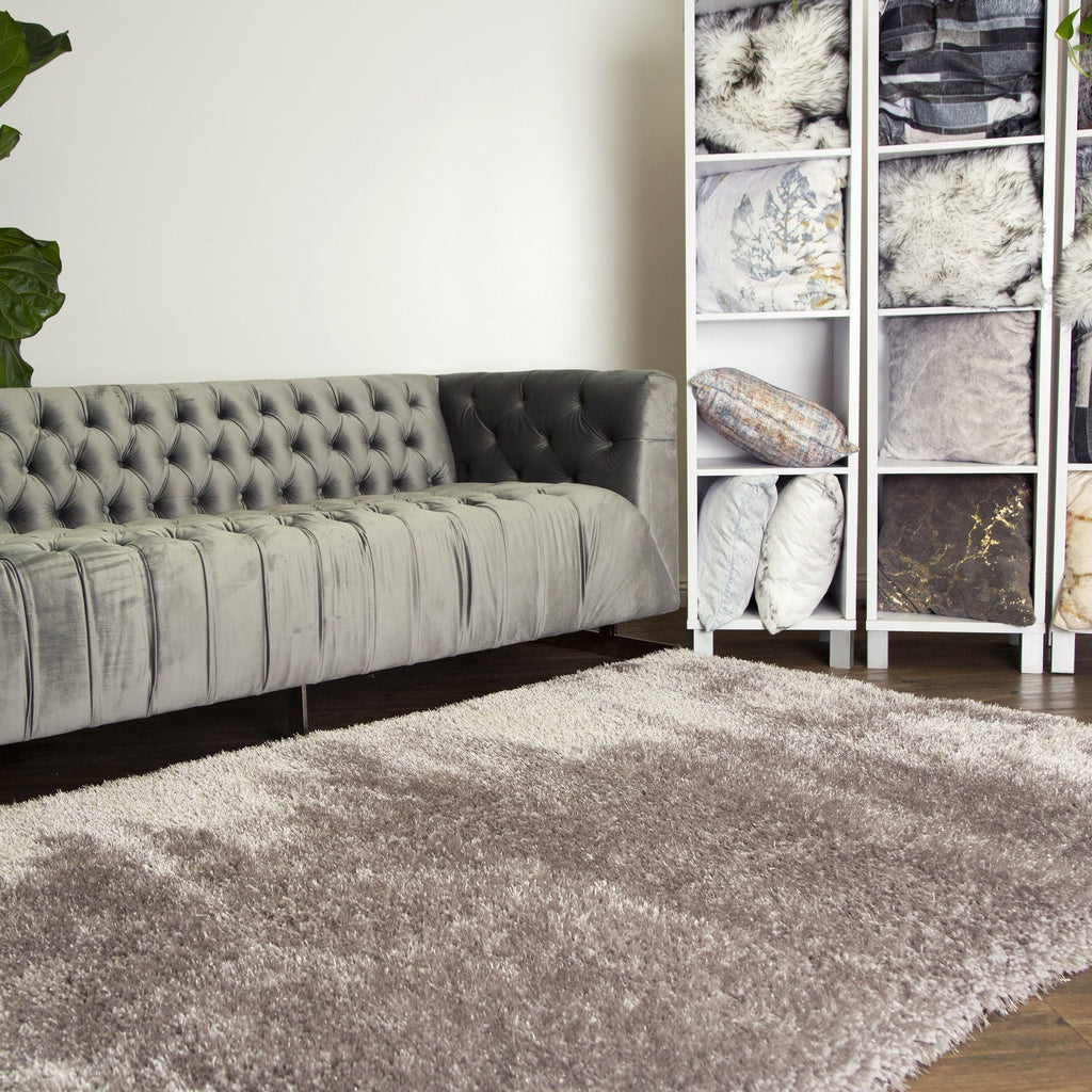 Best Seller Heavy Solid 2''Pile  Shag Multi Textural Silver Area Rug