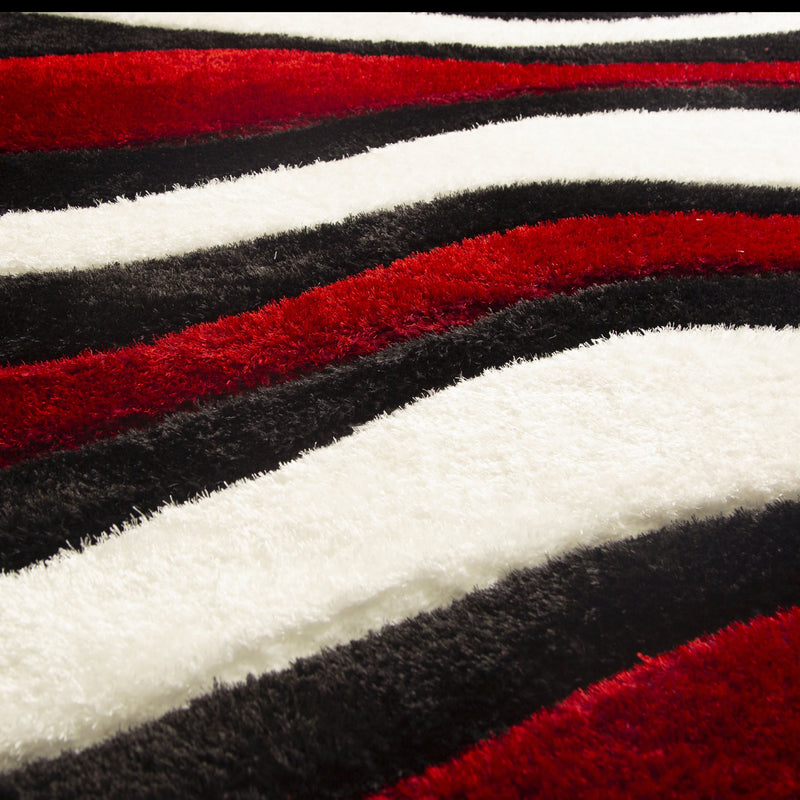 Three Dimensional Wave Design Hand Carved Red Shag Rug