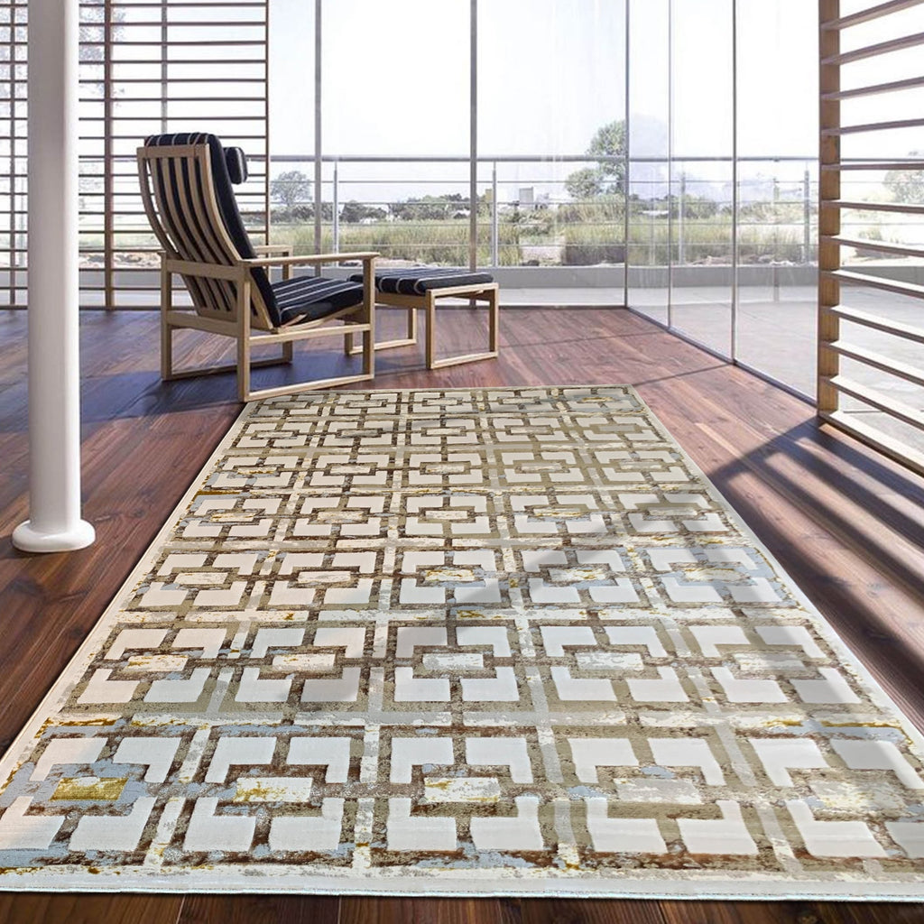 Geometric Shimmery Contemporary Modern Abstract Artsy Area Rug