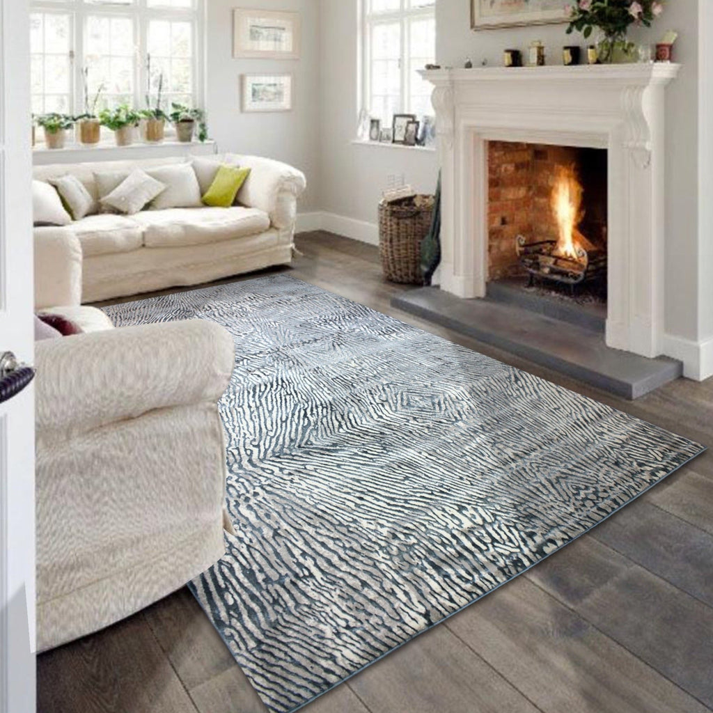 Contemporary Abstract Artsy Designer Area Rug Navy Blue Ivory Color Palette