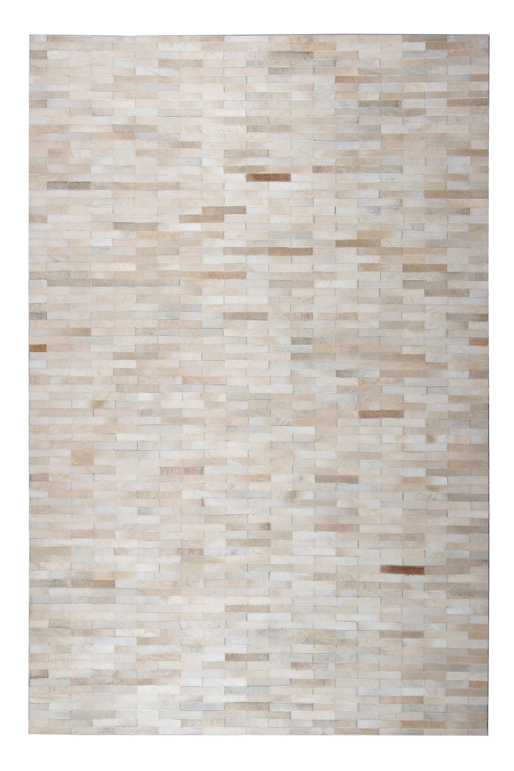 Handmade Natural Leather Patchwork Modern Brick Cowhide Area Rug
