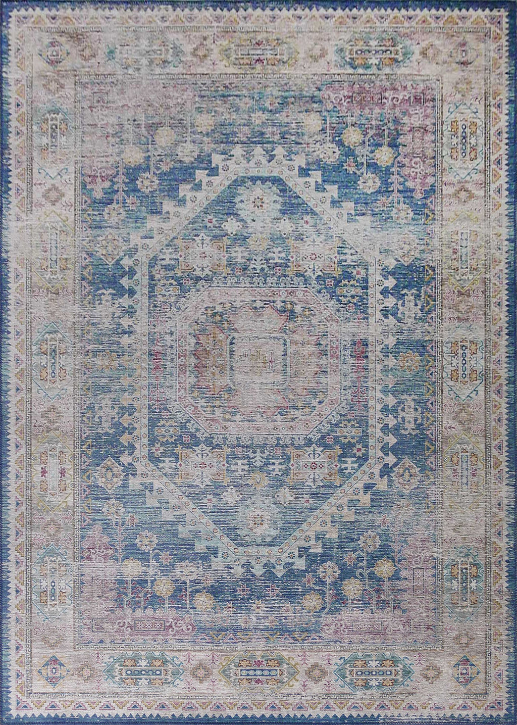 Vintage Style Soft Polyester Print on Design Elevate 230 Area Rug by Rug Factory Plus